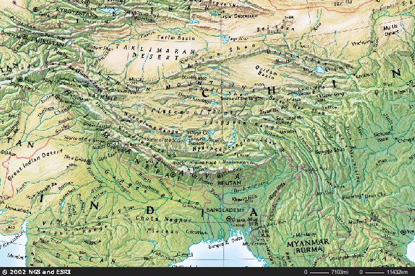 Map Of Asia Himalaya Mountains.Week 11 Info Mountain Geography