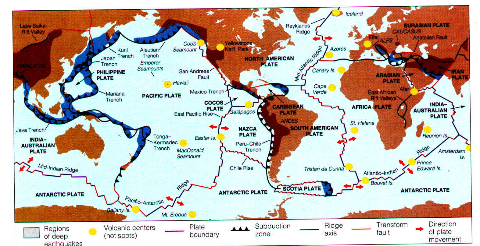WEEK SUMMARY MOUNTAIN GEOGRAPHY - Plate tectonics map